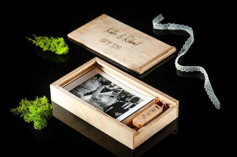 Handmade Wooden 4x6 Photo Box with USB Wedding Memory Box Custom Photography Presentation Box Personalized Engrave Flash Drive 16GB32GB