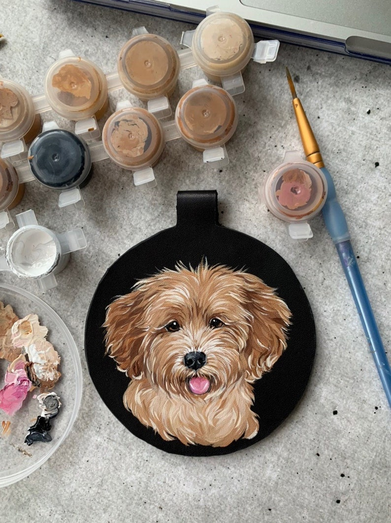 Dog Lover Gift CUSTOM DOG KEYCHAIN Hand Painted Pet Portrait Leather Personalized Animal Keychain Memorial Painting Leather