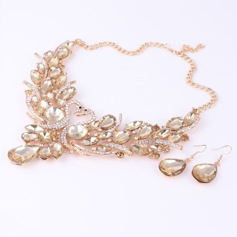 Luxury Gold Plated Crystal New Collier Femme Double Swan Statement Necklace Earring For Women Party Wedding Jewelry Sets Boxes