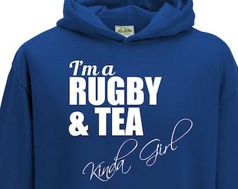 Juko I/'m A Rugby And Tea Kinda Girl Hoodie Funny Hoody