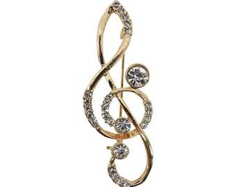 Gorgeous Musical quaver brooch charming 1960s brilliant cut rhinestone costume musical note pin brooch quaver musical note pin brooch