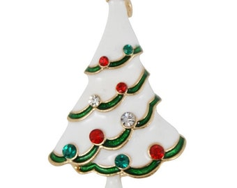 Christmas brooch with decorated Christmas tree jewelry resin real leaf pin