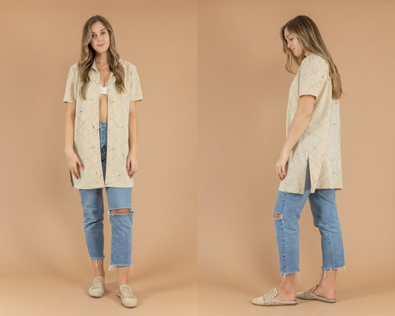 Vintage Short Sleeve Oat Cardigan