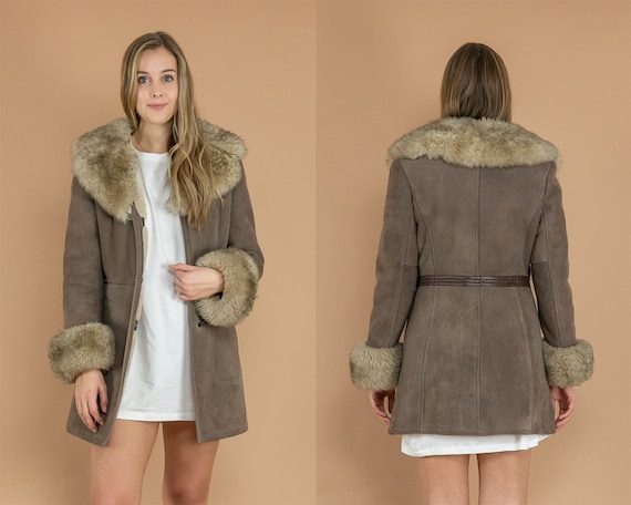 Taupe Penny Lane Coat (Sheepskin Shearling)