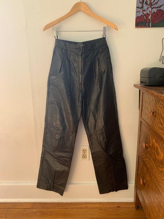 Vintage Black Leather Pants / Size XS-S