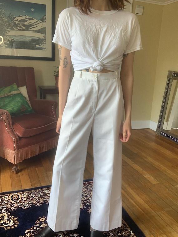 Vintage 70s White Sailor Pants / Size XS-S