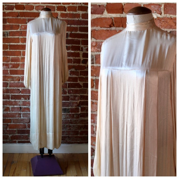 1940's Liquid Satin Dress   Long Sleeve Gown   Sil
