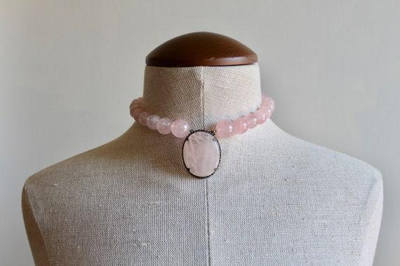 Rose Quartz Choker | Vintage Rose Glass Choker | G