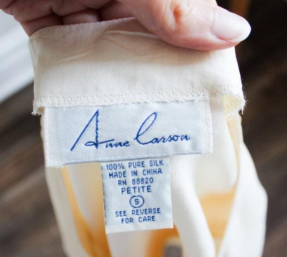 Size Small Petite Anne Carson 100/% Pure Silk Vintage Silk Short Sleeve Top Vintage Blouse