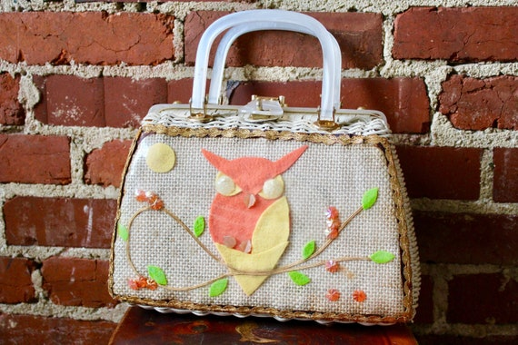 Vintage 1950's Owl Wicker Box Purse | Vintage Kits