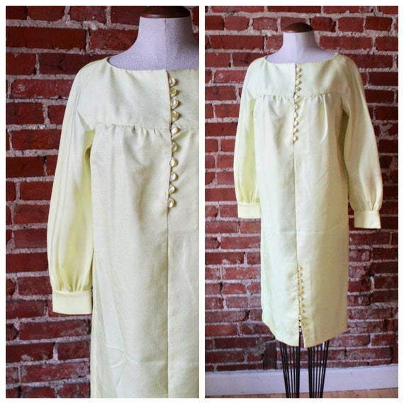 1960s Canary Yellow Dress | Button Up Dress | Pale