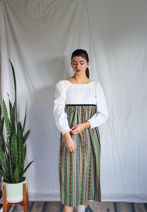 Puff Sleeve Vintage Folk Dress | XS | Hand Sewn Em