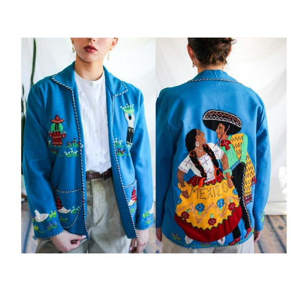 1940s Hand Stitched Mexican Jacket | 100% Wool | T