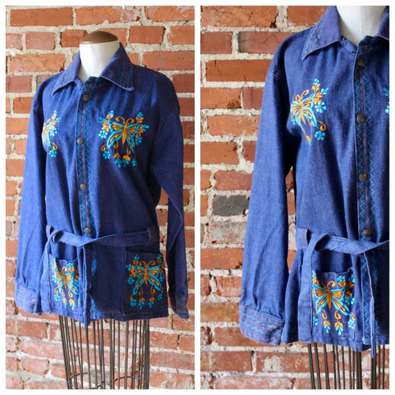 70s Butterfly Denim Top | Woodstock Button Down |