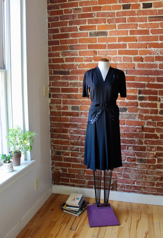 1940s Dress with Belt & Buckle | Sequined Dress |