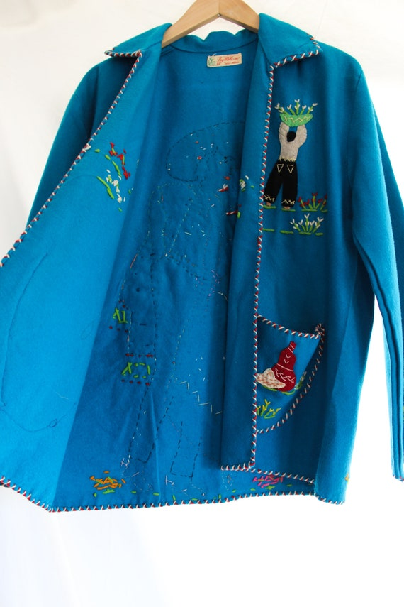 1940s Hand Stitched Mexican Jacket | 100% Wool | … - image 8