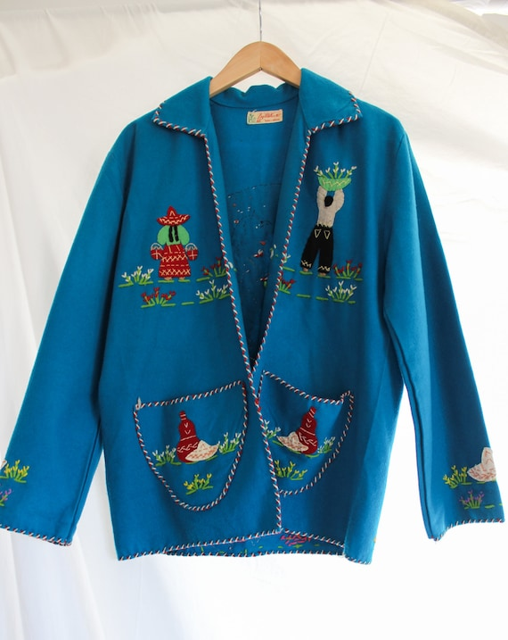 1940s Hand Stitched Mexican Jacket | 100% Wool | … - image 7