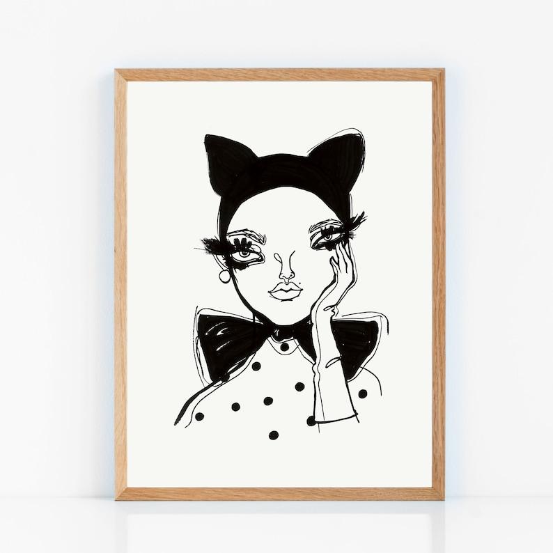 Art Print Poster  Chat Noir image 0