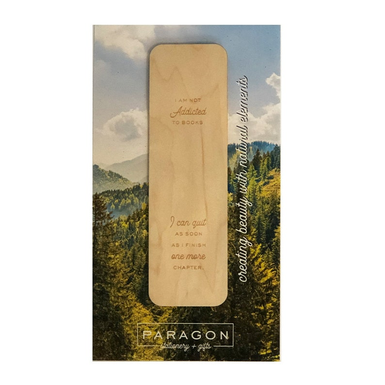 Wood Bookmark Addicted No Tassel image 0