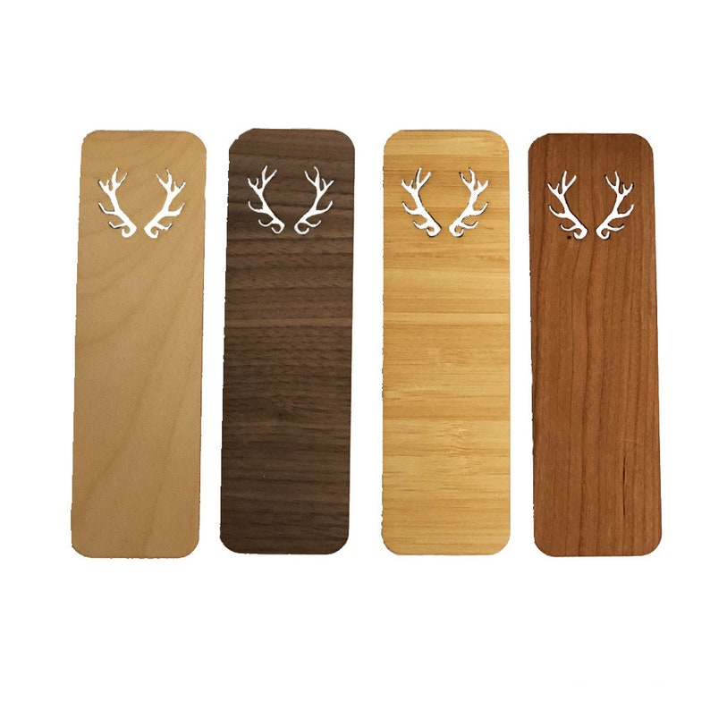Wood Bookmark Antlers image 0