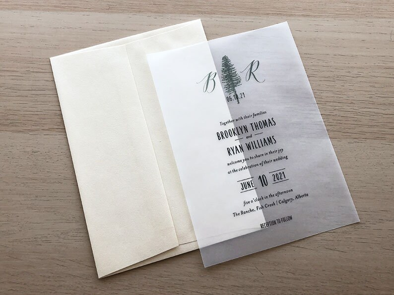 Fir Tree Invitation Sample Vellum