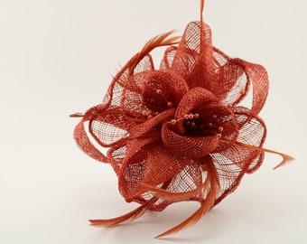 Fascinator rust orange sinimay flower for fascinator c6b498bff98