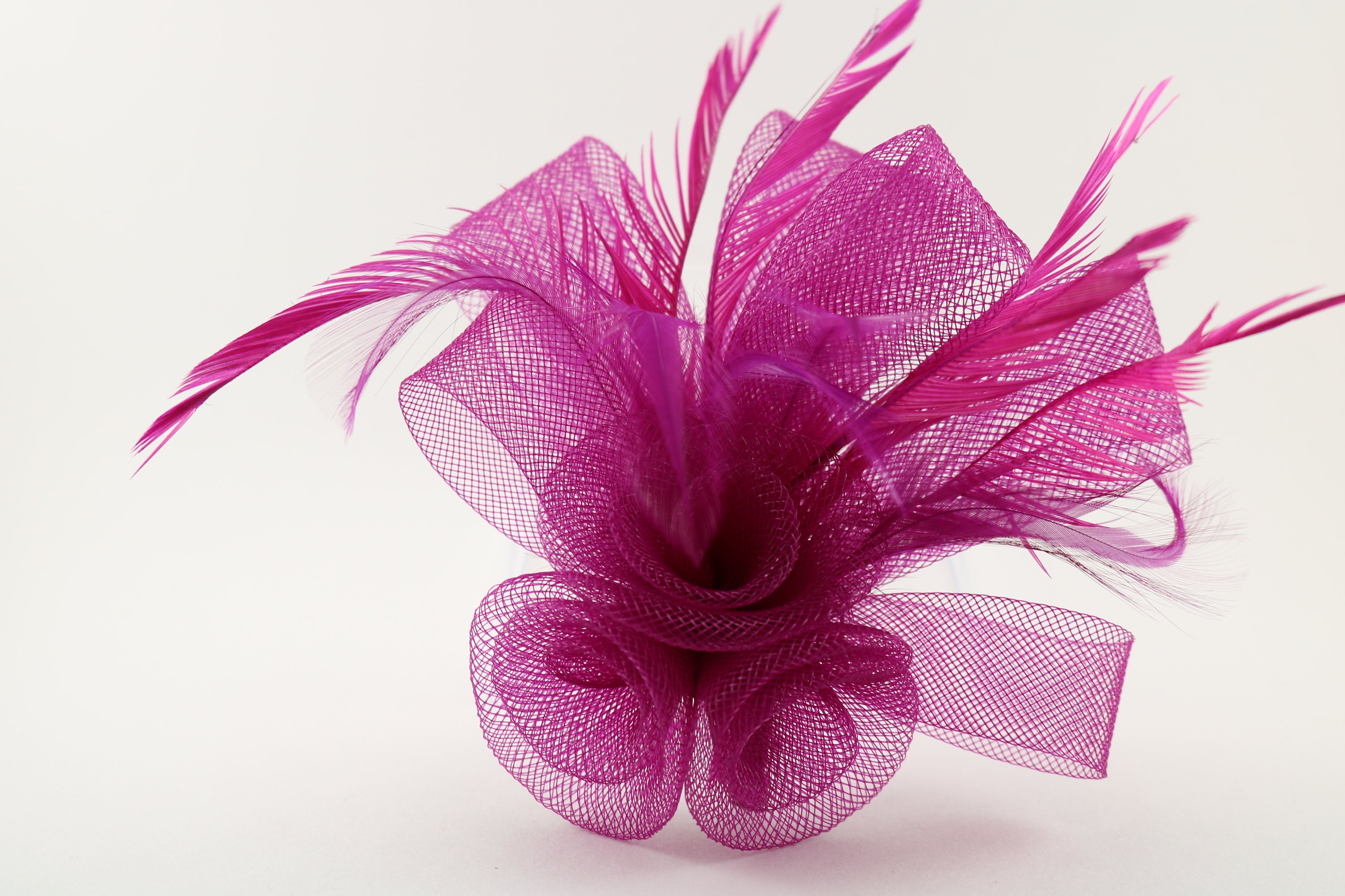 fascinator magenta fuchsia horsehair feather flower for  3fcd680602b