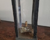 18th Century Antique Barn Lantern Original Black Paint, Early Primitive Candle Lighting