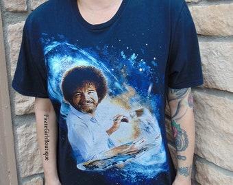 cd6cb16e Rare Galaxy Bob Ross Graphic Shirt, Bob Ross Painting T-shirt