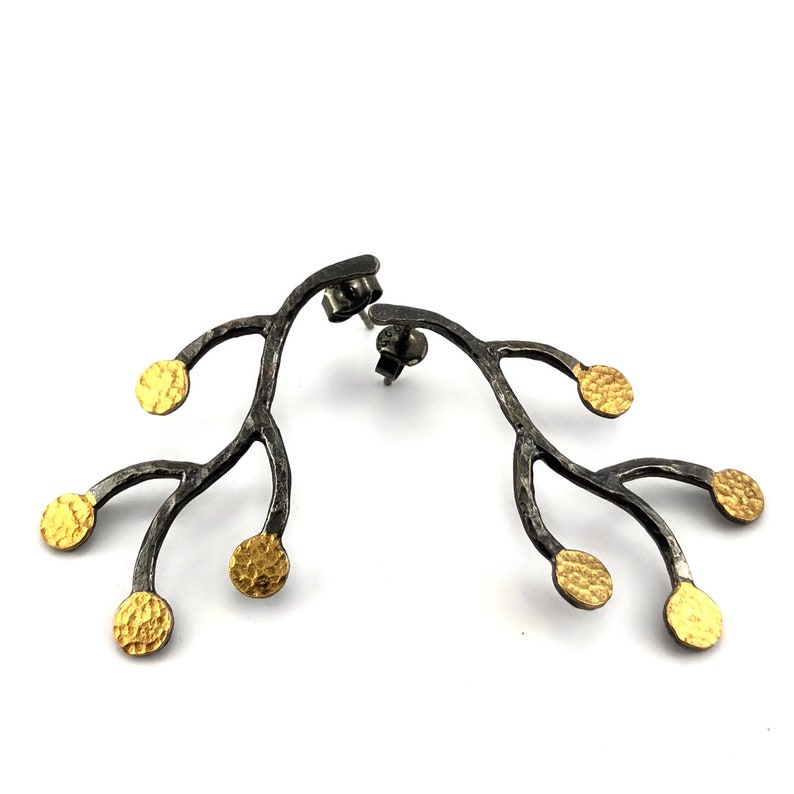 Silver Branch Earrings Handmade Oxidised and Gold Plated Silver Branch Earrings