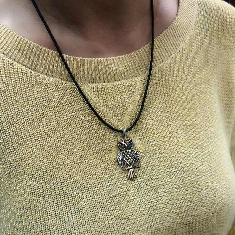 Silver Owl Pendant with Evil Eyes