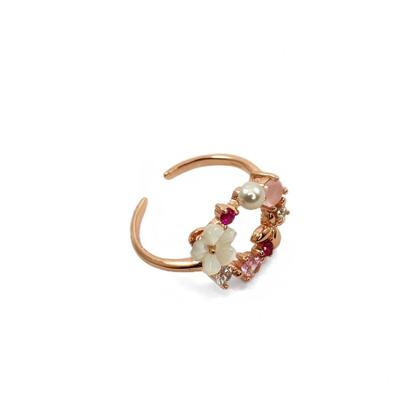 Adjustable Silver Butterfly Ring Rose Gold Plated Silver Floral Ring Dainty Rose Gold Nature Ring
