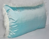 Aqua Marine Dupion Silk Polar Fox Supersoft Faux Fur Cushion