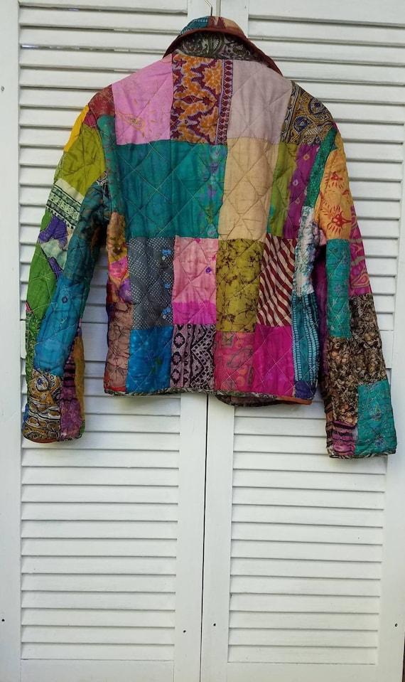 Silk Kimono Patchwork Jacket/Coat of Many Colors/Q