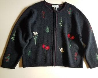 NWOT Susan Bristol Embroidered Cardigan/XL/Wool/Zip Front