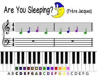 Happy Birthday Color Coded Beginner Piano Music Sheet | Etsy