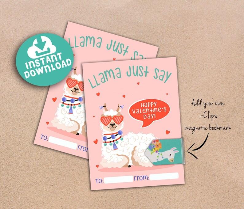 Llama Valentine Printable. INSTANT DOWNLOAD. image 0
