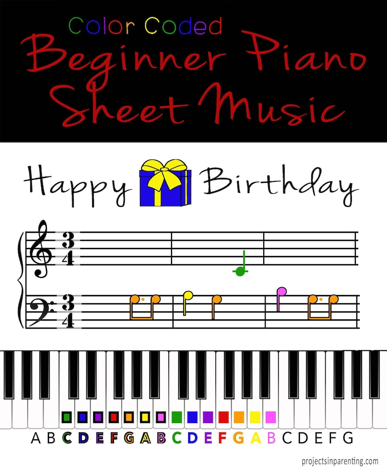 Happy Birthday Color Coded Beginner Piano Music Sheet