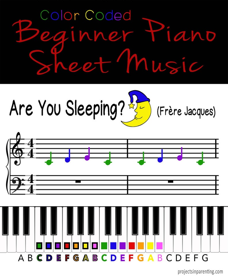 Are You Sleeping Frère Jacques Color Coded Beginner Piano image 0