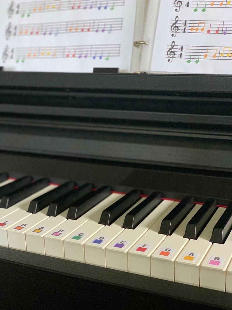 Color Coded Piano / Keyboard Stickers  Removable Labels image 0