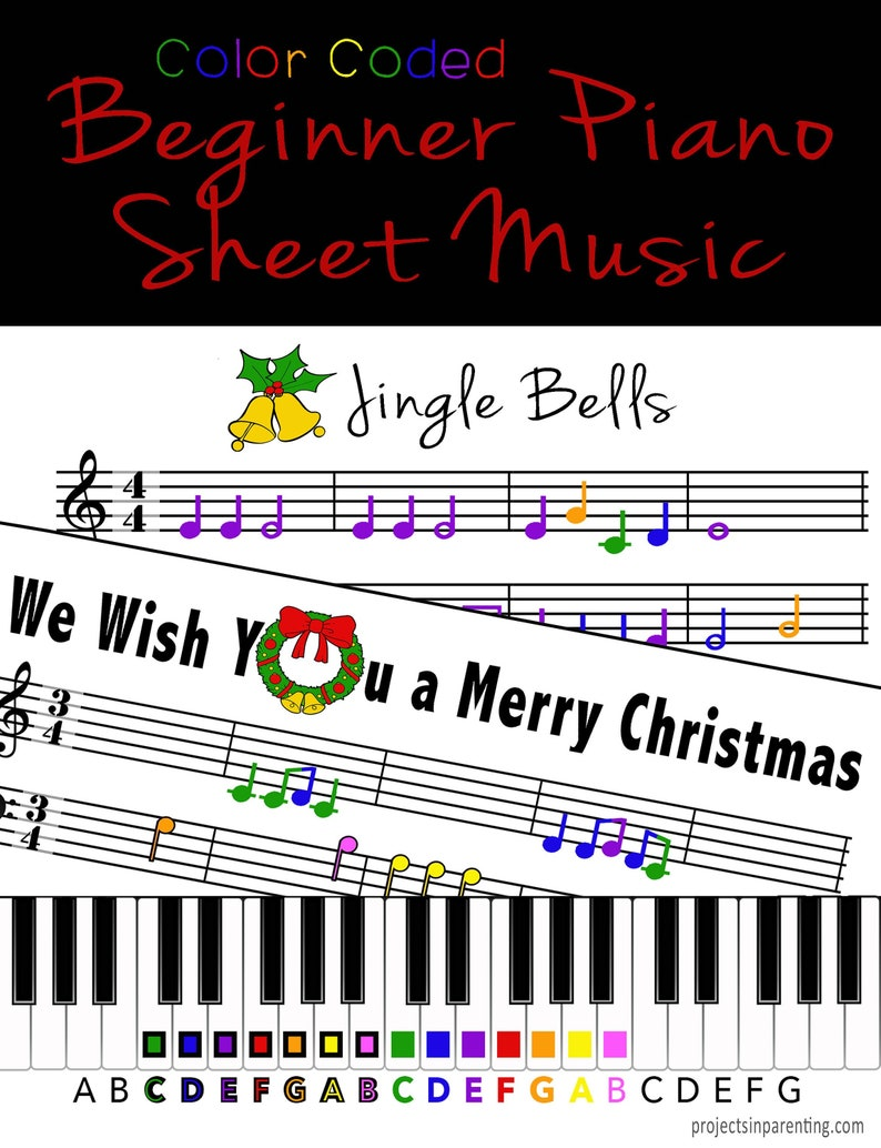 Jingle Bells and We Wish You a Merry Christmas  Color Coded image 0