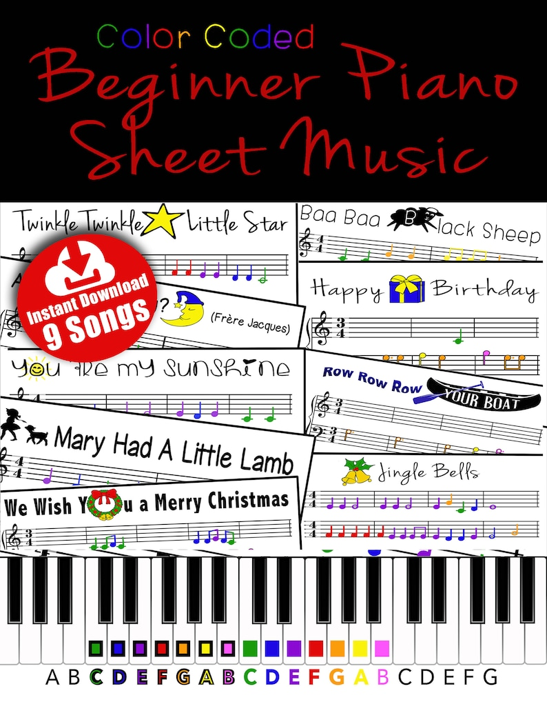 9 SONG PACK  Color Coded Beginner Piano Music Sheets image 0