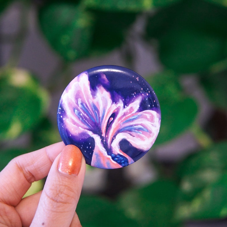 Abstract celestial feminist round button, waterproof, glossy, made in the US