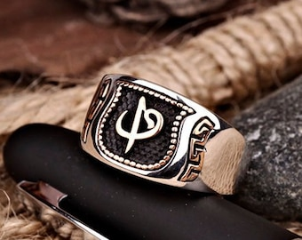 b970f7d6fc3 Unique Mens Ring Engraved Muslim Ring Islamic Ring For Men Black Man  Jewelry Handmade 925 Sterling Silver Alif Waw Design New