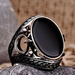 Mens Ring Vintage Rings For Mens Silver Ring Antique Ottoman Heraldic Jewelry Black Gemstone Onyx Stone Moon Star Ring Mens Signet Ring Cool