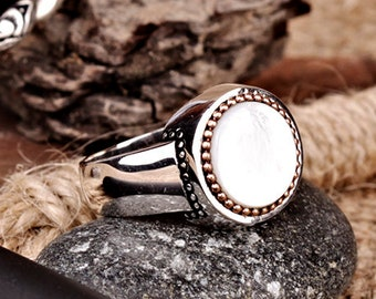 Unique Gemstone Handmade Rings Mother of Pearl Mens For Men Ring White Stone New