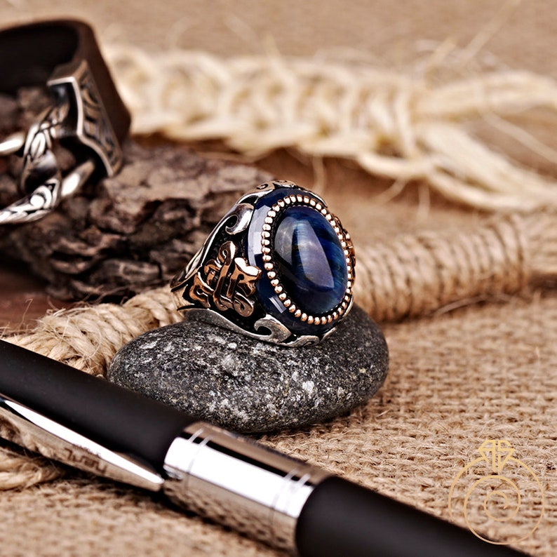 Celtic Knot Ring Signet Cool Mens Custom Jewelry Mens Infinity Ring With Blue Tiger Eye Stone Vintage Silver Gemstone Anniversary Ring