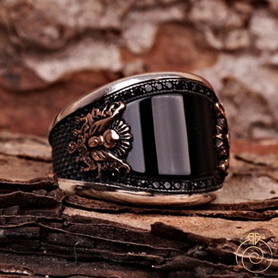 Men Turquoise Ottoman Symbol Custom Vintage Signet Ring For Mens Personalization
