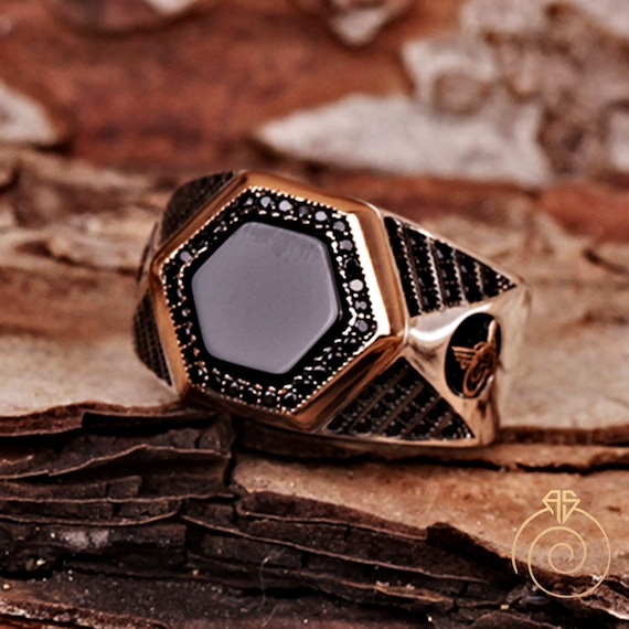 Onyx 925 Sterling Silver Plated Mens Pattern Boys Signet Ring Vintage Wedding