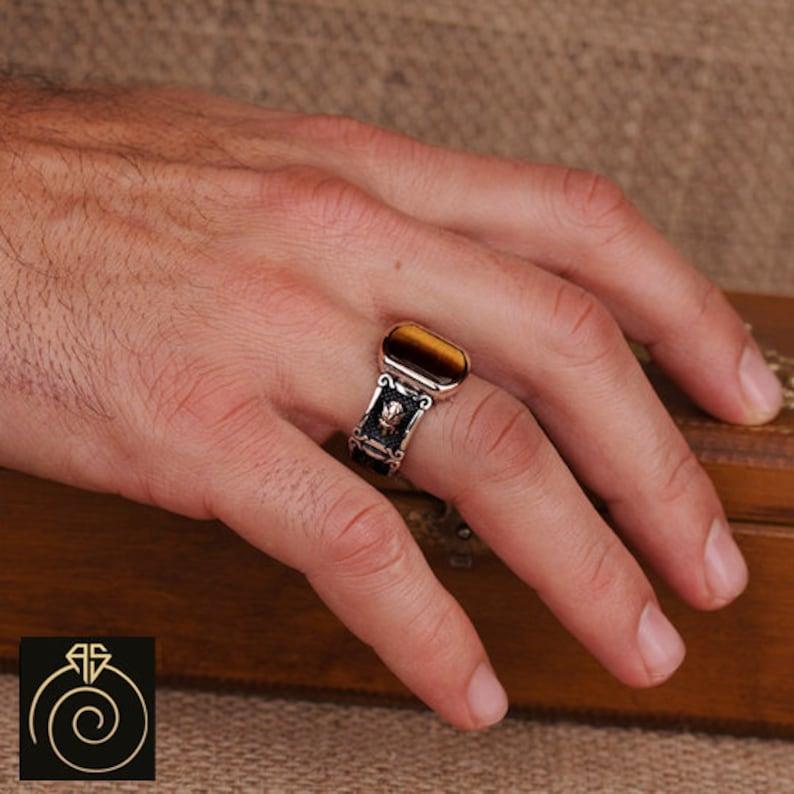 Vintage Sterling Silver Tiger Gemstone Wedding Band Men\u2019s Brown Tiger\u2019s Eye Statement Ring Customize Emblem Heraldic Vintage Jewelry Gift